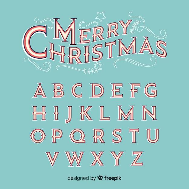 Alfabeto de natal vintage Vetor grátis