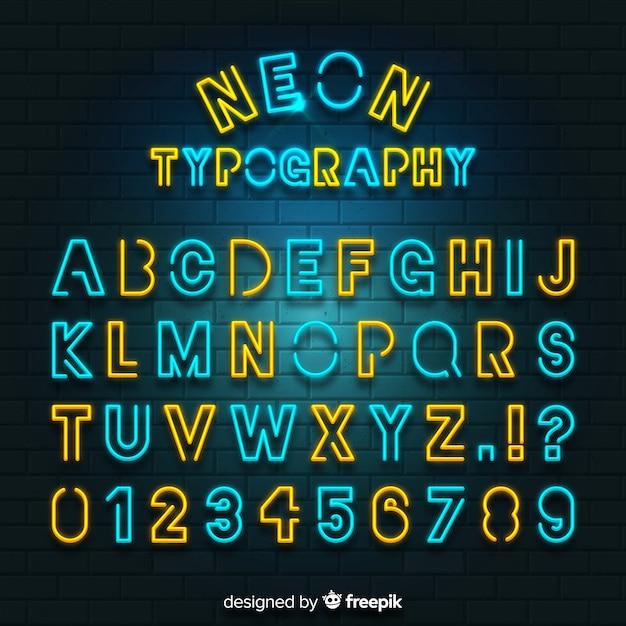 Alfabeto de néon colorido Vetor grátis