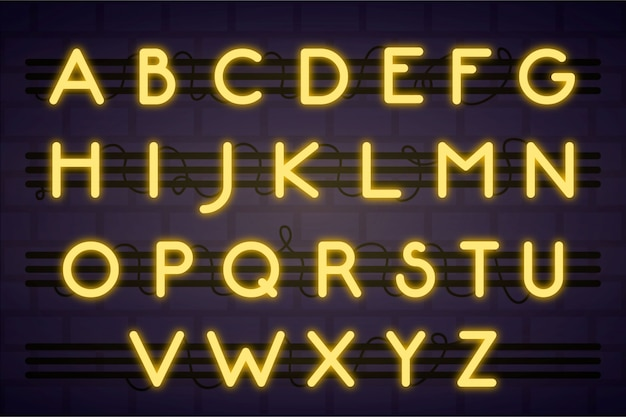 Alfabeto de néon com letras amarelas Vetor grátis