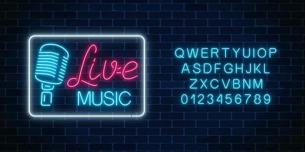Alfabeto de néon e tabuleta da boate com música ao vivo Vetor Premium