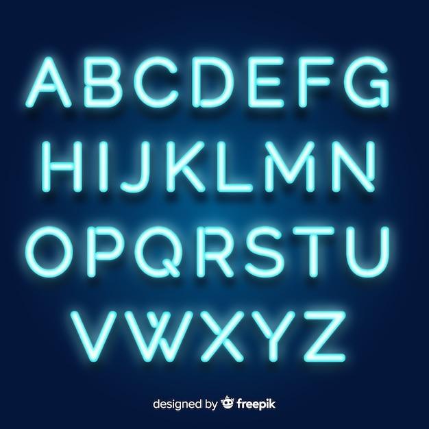 Alfabeto de néon em estilo retro Vetor grátis