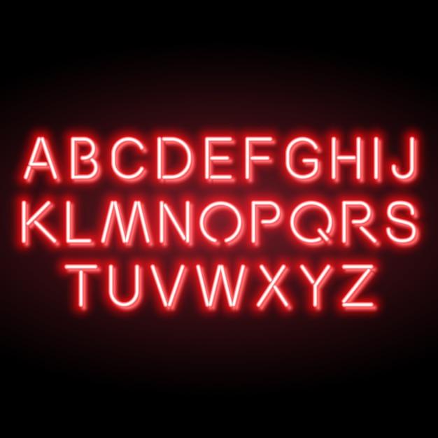 Alfabeto de néon vermelho vetor Vetor Premium