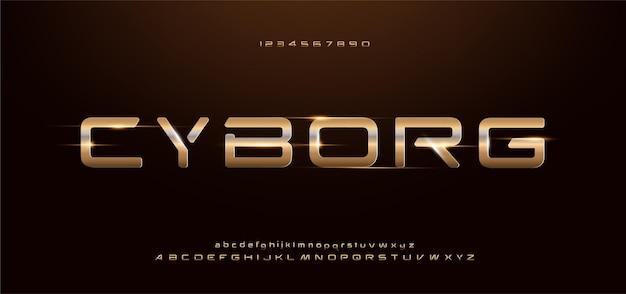 Alfabeto de ouro brilhante moderno