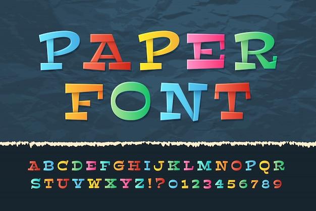 Alfabeto de papel de cor. fonte de férias de desenho animado. crianças da escola letras e números Vetor Premium