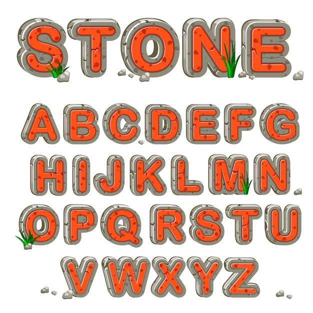 Alfabeto de pedra vermelha em vetor Vetor Premium