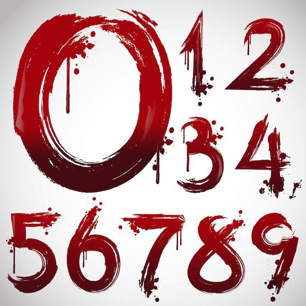 Alfabeto de sangue, letras de halloween do em estilo de fonte sangrenta. Vetor Premium