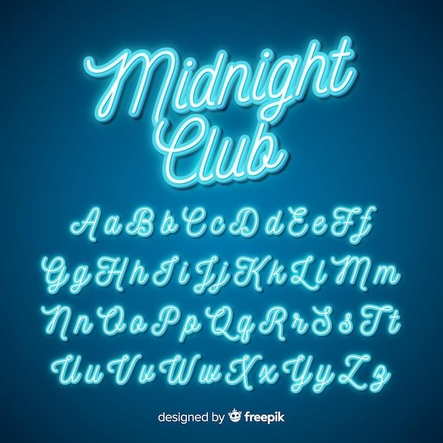 Alfabeto de script de néon Vetor grátis