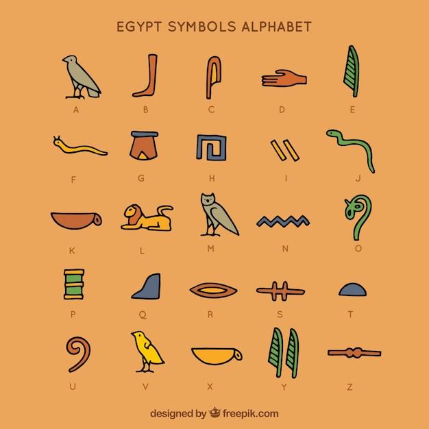 Alfabeto de símbolos do egito Vetor grátis