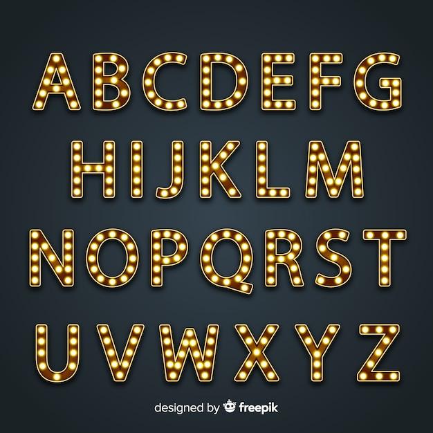 Alfabeto de sinal brilhante em estilo vintage Vetor grátis