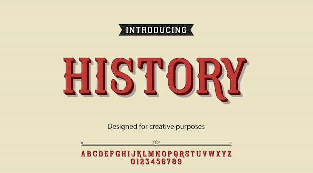 Alfabeto de tipo de letra de história Vetor Premium