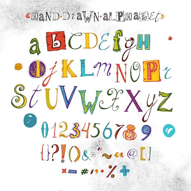 Alfabeto de vetor, fonte desenhada de mão, ilustração de letras Vetor Premium