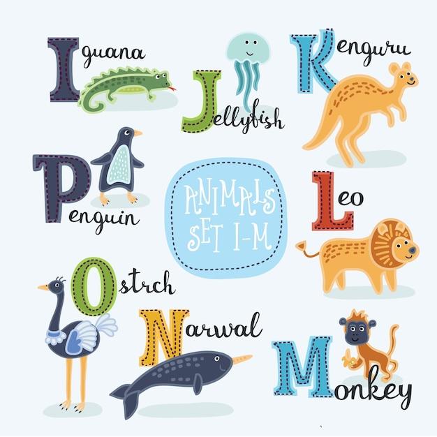 Alfabeto de zoológico fofo Vetor Premium