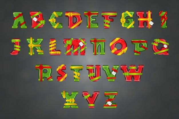 Alfabeto decorado por fitas e laços Vetor Premium