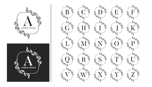 Alfabeto decorativo de logotipo de monograma de casamento de luxo conjunto de alfabeto de logotipo de monograma de casamento de luxo decorativo Vetor Premium