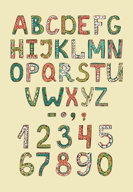 Alfabeto desenhado à mão letras abs com ornamentos decorativos coloridos Vetor grátis