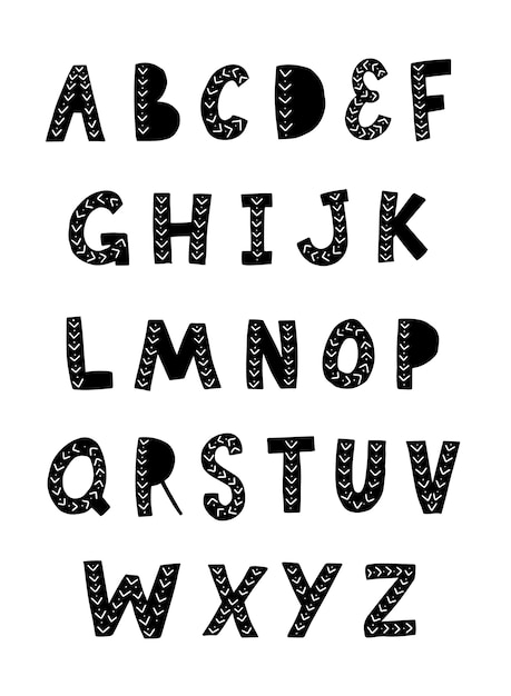 Alfabeto desenhado de mão para cartazes de berçário, fontes Vetor Premium