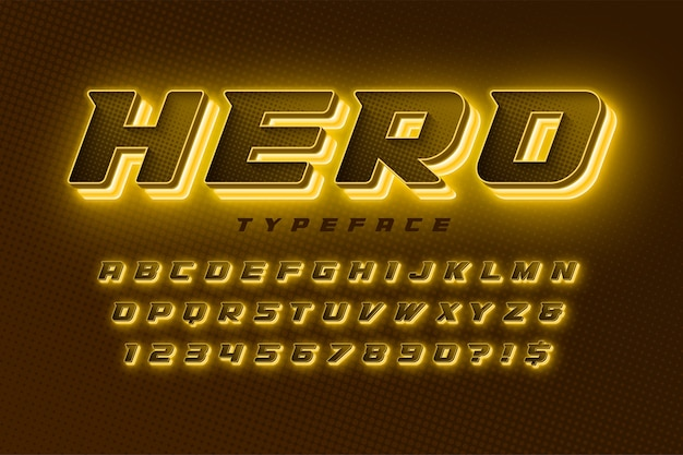 Alfabeto dinâmico futurista, conjunto extra brilhante de caracteres criativos. Vetor Premium
