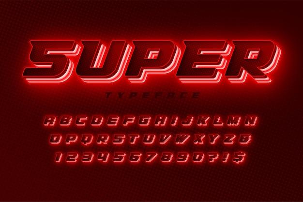 Alfabeto dinâmico futurista, fonte extra brilhante. Vetor Premium