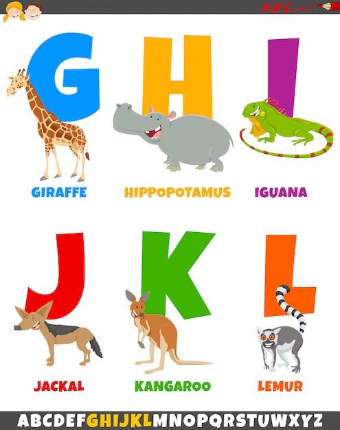 Alfabeto dos desenhos animados com personagens de animais em quadrinhos Vetor Premium