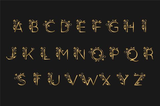 Alfabeto dourado com flores elegantes Vetor grátis
