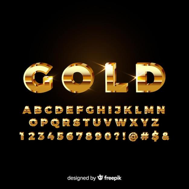 Alfabeto dourado Vetor grátis