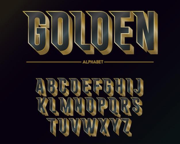 Alfabeto e fonte dourada elegante moderna Vetor Premium