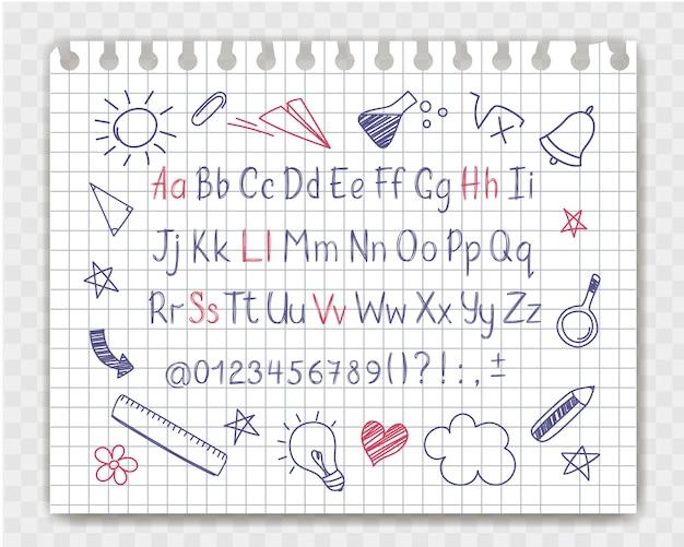 Alfabeto em estilo esboçado com escola doodles na folha de caderno. Vetor Premium