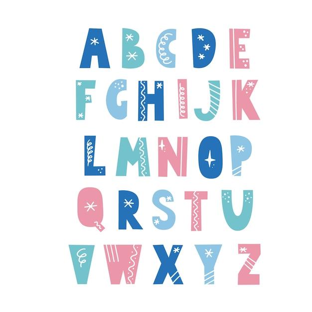 Alfabeto em estilo escandinavo com elementos de natal, floco de neve, estrela, linha. fonte de férias de natal. carta de cor. Vetor Premium