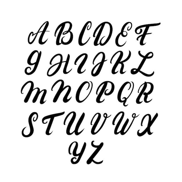 Alfabeto em maiúsculas escrito à mão Vetor Premium