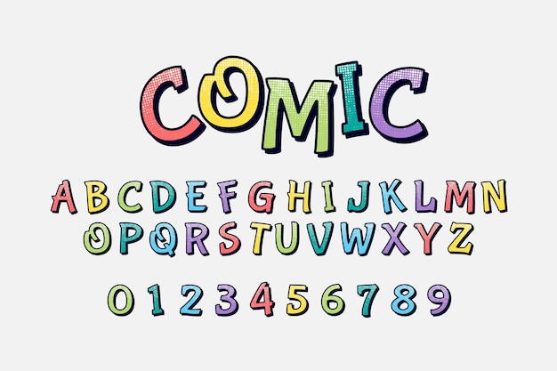 Alfabeto em quadrinhos 3d colorido Vetor grátis