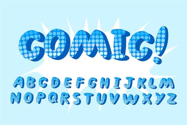 Alfabeto em quadrinhos 3d com ponto de exclamação Vetor grátis