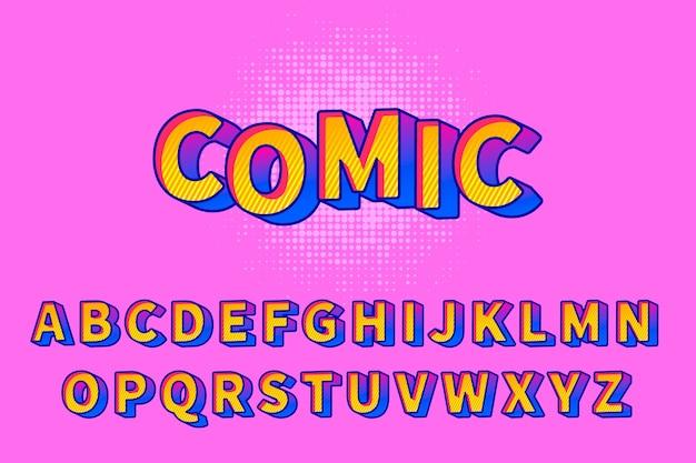 Alfabeto em quadrinhos 3d Vetor Premium