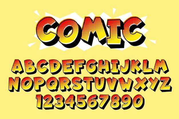 Alfabeto em quadrinhos 3d Vetor grátis
