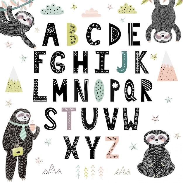 Alfabeto engraçado com preguiças bonitinho Vetor Premium