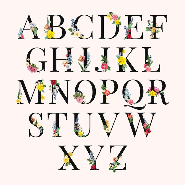 Alfabeto floral ilustração de fundo Vetor grátis
