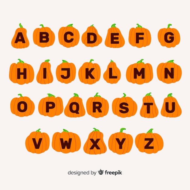 Alfabeto fofo de abóbora de halloween Vetor grátis