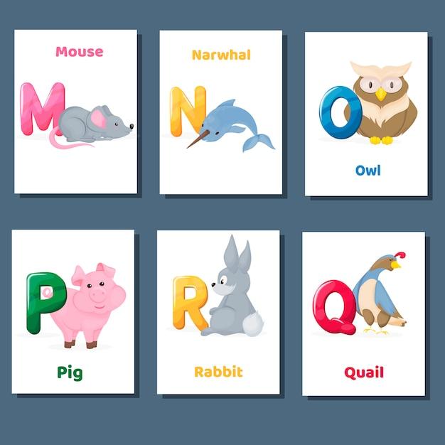 Alfabeto imprimível flashcards coleção de vetores com a letra mnopq r. animais do jardim zoológico para o ensino da língua inglesa. Vetor Premium