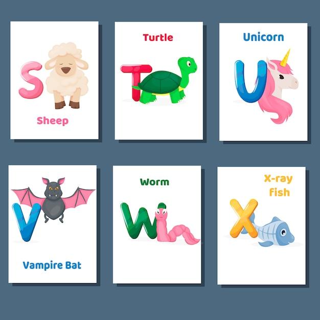 Alfabeto imprimível flashcards vector coleção com letra stuvw x. animais do zoológico para o ensino da língua inglesa. Vetor Premium