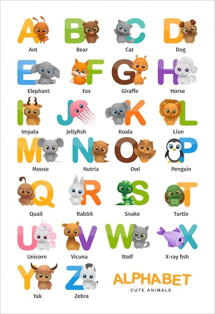 Alfabeto inglês de animais fofos Vetor Premium