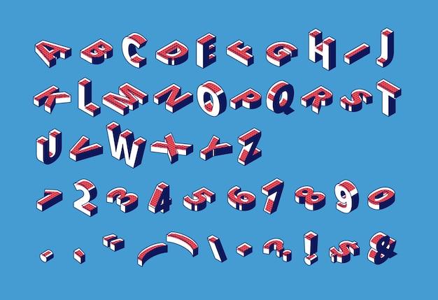 Alfabeto isométrico, abc, números e pontuação letras maiúsculas, fonte de tipografia Vetor grátis
