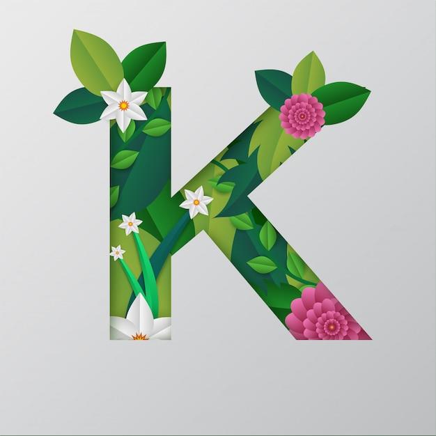 Alfabeto k feito pelo design floral bonito. Vetor Premium