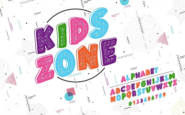 Alfabeto latino. fonte kids zone Vetor Premium