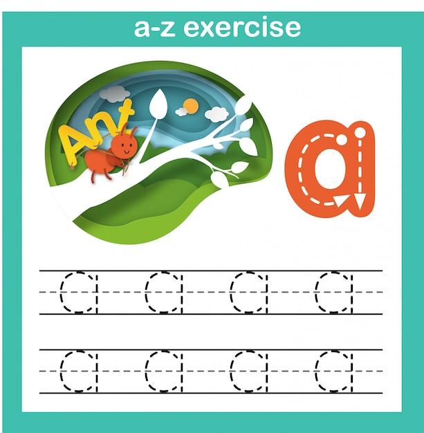 Alfabeto letra a-formiga exercício, papel cortado conceito ilustração em vetor Vetor Premium