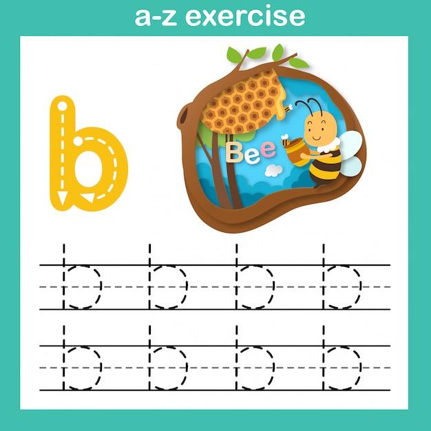 Alfabeto letra b-abelha exercício, papel cortado conceito ilustração em vetor Vetor Premium