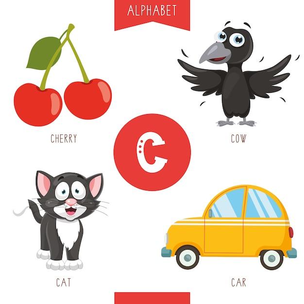 Alfabeto letra c e imagens Vetor Premium