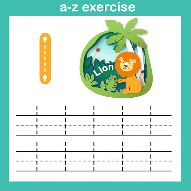 Alfabeto letra l-leão exercício, ilustração em vetor papel conceito cortado Vetor Premium