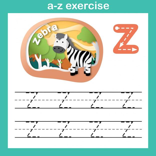 Alfabeto letra z-zebra exercício, ilustração em vetor papel conceito cortado Vetor Premium