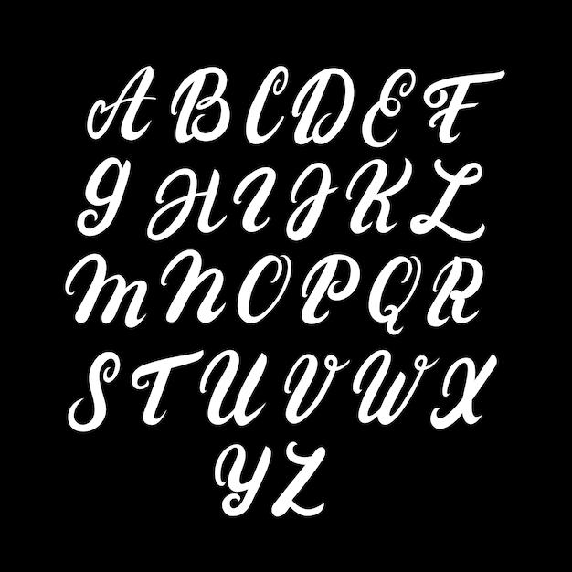 Alfabeto maiúsculo escrito à mão Vetor Premium