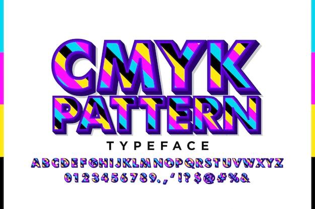 Alfabeto moderno com cores cmyk Vetor Premium