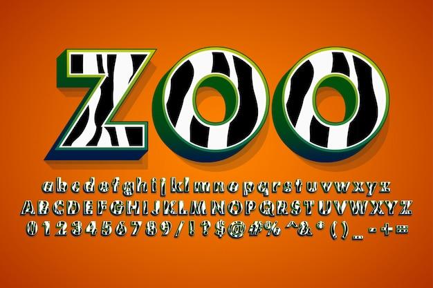 Alfabeto moderno com padrão de pele de zebra Vetor grátis